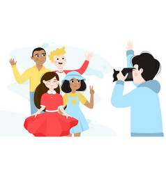 Group multiethnic boys and girls taking photo vector