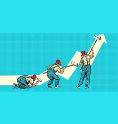 growth chart up painter paints three poses vector image