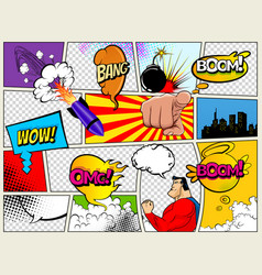 grunge retro comic speech bubbles background with vector image