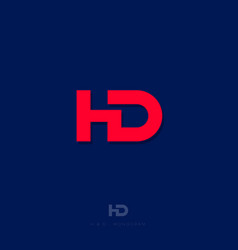 h d letter red web user interface icon vector image