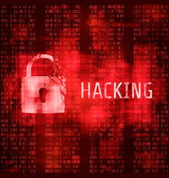 Hacking hacker cyber attack hacked program on vector