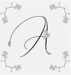 Hand drawn flowered a monogram or logo vector