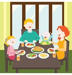 Happy family dinner vector