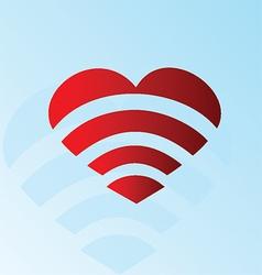 Heart Wi-Fi symbol vector image