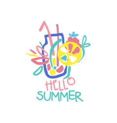 Hello summer logo original design label for vector