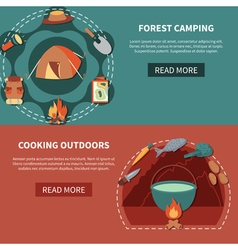 Hiking Equipment And Food Products For Cooking vector