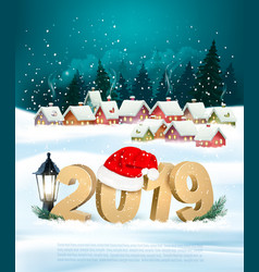 holiday christmas background with 2019 and gift vector image