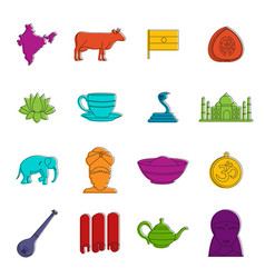India travel icons doodle set vector