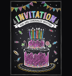 invitation card to party or birthday birthday vector image
