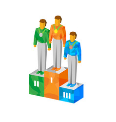 Isometric champions on pedestal with medals vector