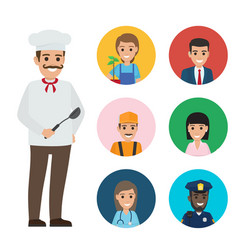 italian chef and set of people of different jobs vector image
