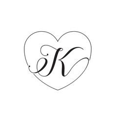 K script letter lines heart love design concept vector