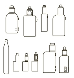 Linear vaping icons set vector image
