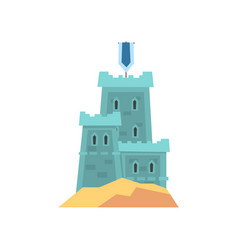 Little medieval fortress in blue color old royal vector