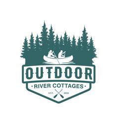 Logo outdoor adventure using a canoe boat vector