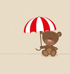 Love bear with red umbrella vector image