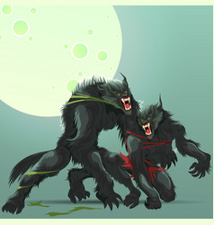 man and woman transformating into werewolf poster vector image