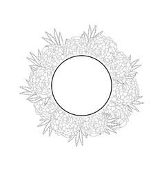 marigold flower - tagetes banner wreath outline vector image