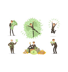 men in classic suits bawith bundles green vector image
