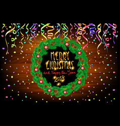 Merry christmas and happy new year wooden vector