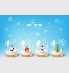 Merry christmas with character in glass dome vector