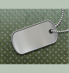 Military metal id tag on a steel background vector