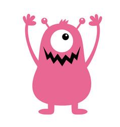 Monster pink silhouette cute cartoon kawaii scary vector