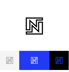 n in square minimalism logo letter n vector image