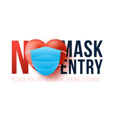No mask entry valentine day new normal concept vector