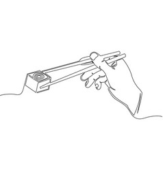 one line hand holding chopsticks with sushi vector image