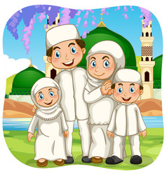 outdoor scene with muslim family cartoon character vector image