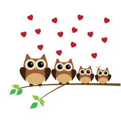 Owl family valentine vector