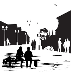 people in city park vector image