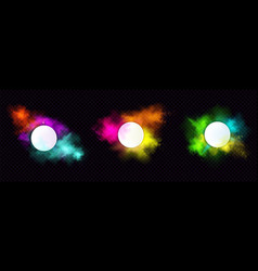 powder holi paints round frames colorful clouds vector image