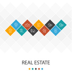 Real estate trendy ui template infographics vector