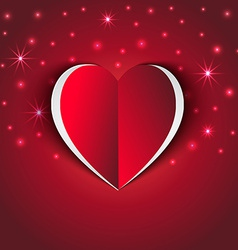red Heart paper sticker with shadow star vector image