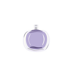 Round bottle with violet liquid vial for perfume vector