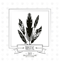 Rustic card with feathers ribbon decoration arrow vector