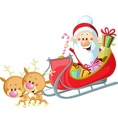 Santa sleigh and reindeer isolated on white vector