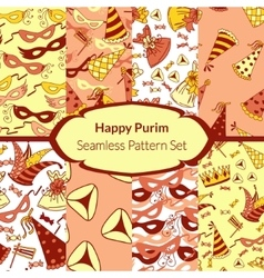 Seamless pattern set for Jewish holiday Purim vector