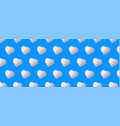 seamless pattern with hearts isolated on long blue vector image
