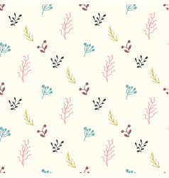 Seamless pattern with sprigs and berries vector