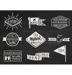 set chalk hipster vintage retro labels and log vector image
