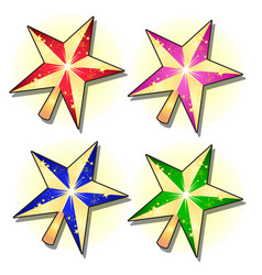set of gold sparkling stars painted in different vector image