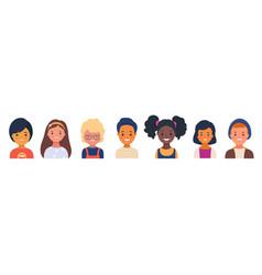 set smiling kindergarten kids characters vector image