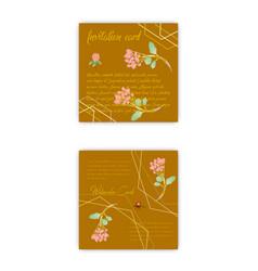Set summer vintage floral greeting card vector