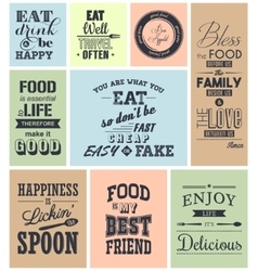 set vintage food typographic quotes vector image