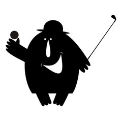 Smiling man in the bowler hat plays golf isolated vector