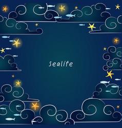 Starfish on night sky and school fish cloud vector