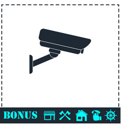 Surveillance camera icon flat vector